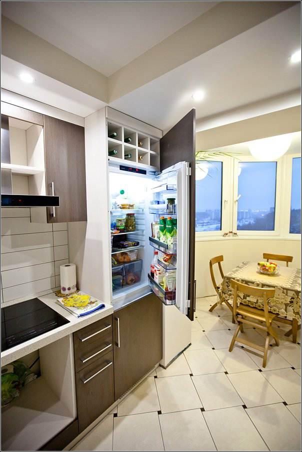 Кухня-столовая - объединение кухни с балконом (11 фото)