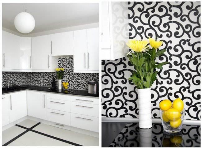 Строгая черно-белая кухня в 3-х комнатной квартире (6 фото)