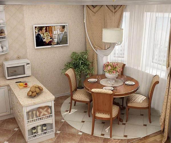 Белая П-образная кухня 14 кв.м в классическом стиле (3 фото)