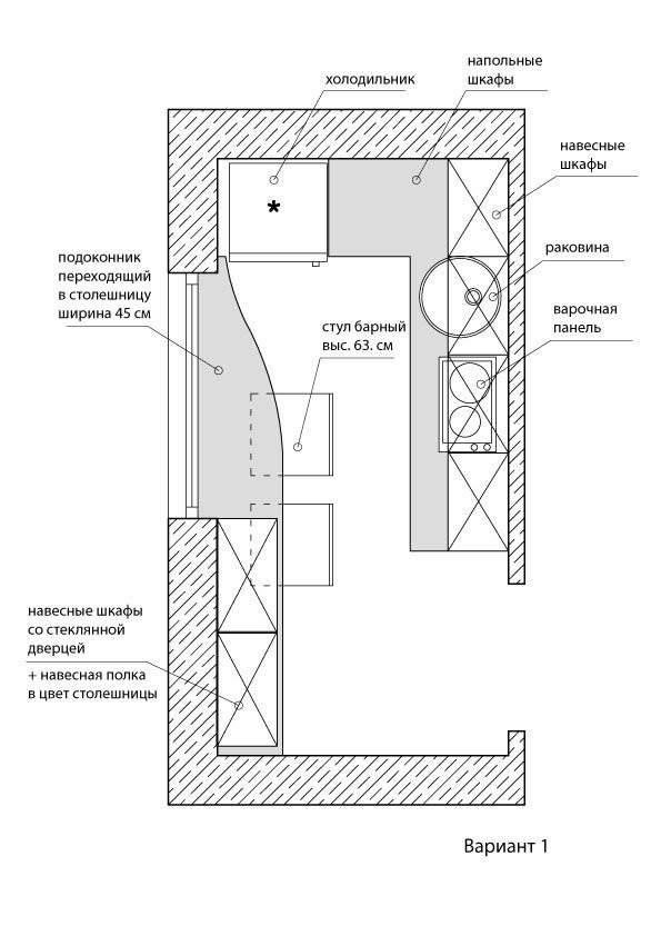 Расстановка мебели  профессионалом на П-образной кухни 6 кв.м (11 фото)