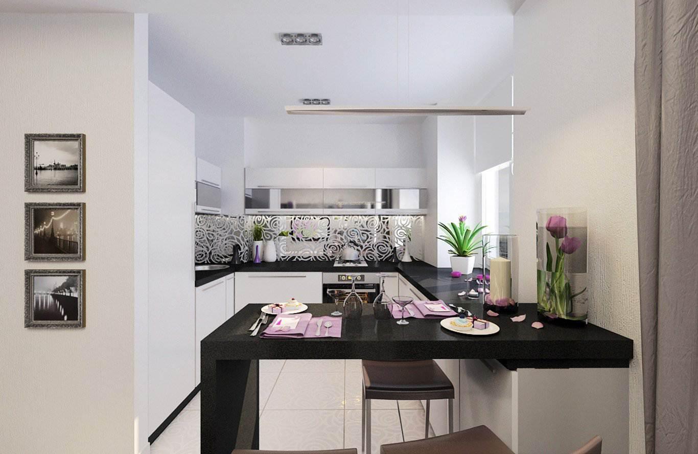 дизайн проект белой п образной кухни студии 6 фото