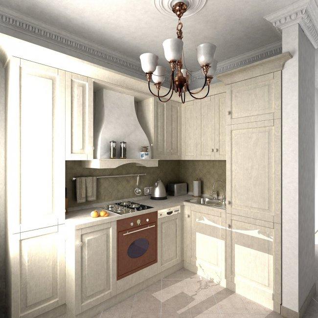 Дизайн Г-образной кухни-гостиной в стиле прованс (4 фото)