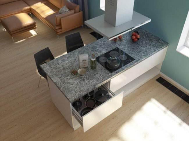 Дизайн-проект белой кухни-гостиной с островом (6 фото)