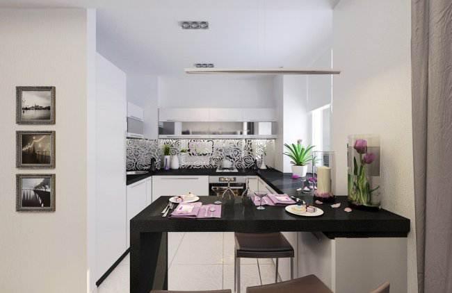 Дизайн-проект белой П-образной кухни в квартире-студии (6 фото)
