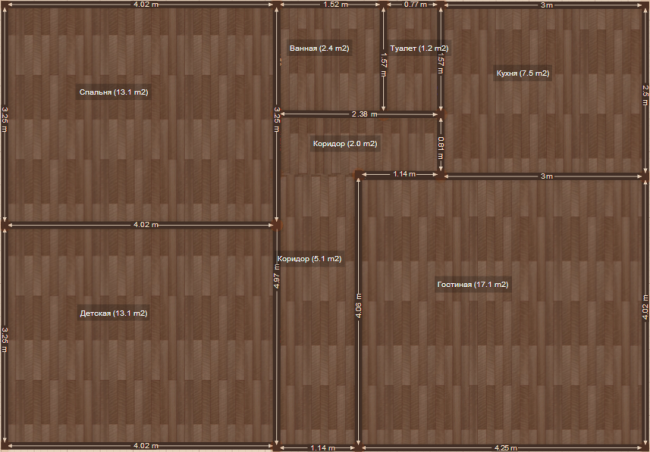 План 3-комнатной квартиры до перепланировки