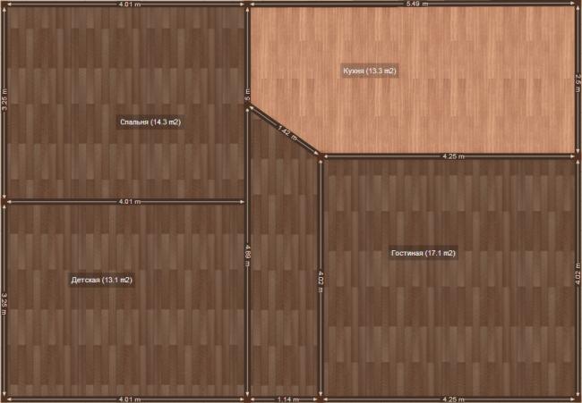 План 3-комнатной квартиры после перепланировки