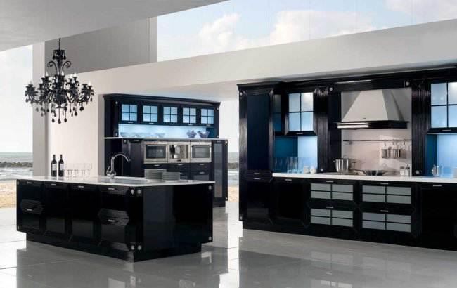 Дизайн черной кухни с островом 30 кв.м (6 фото)
