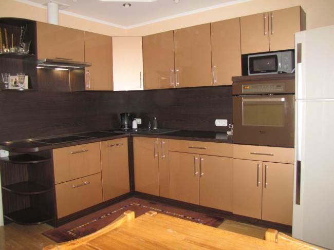 Глянцевая угловая кухня из ДСП от компании ЗОВ (21 фото)