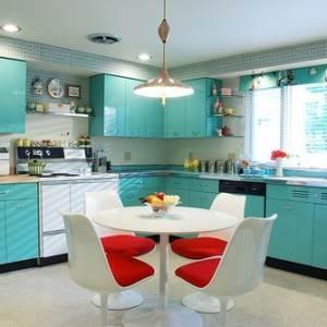 Одноцветная бирюзовая кухня