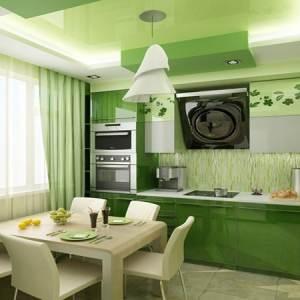 Одноцветная кухня в зеленых тонах