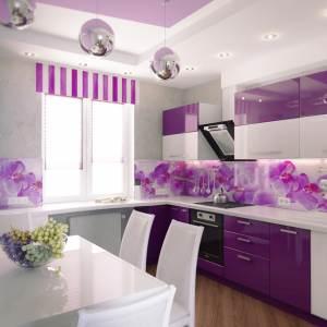 Глянцевая фиолетовая с цветами