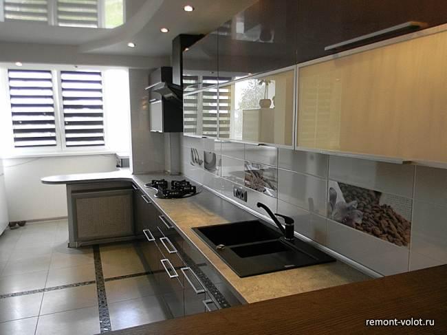 Дизайн кухни 23 кв.м с баром за 11 000$ (15 фото)