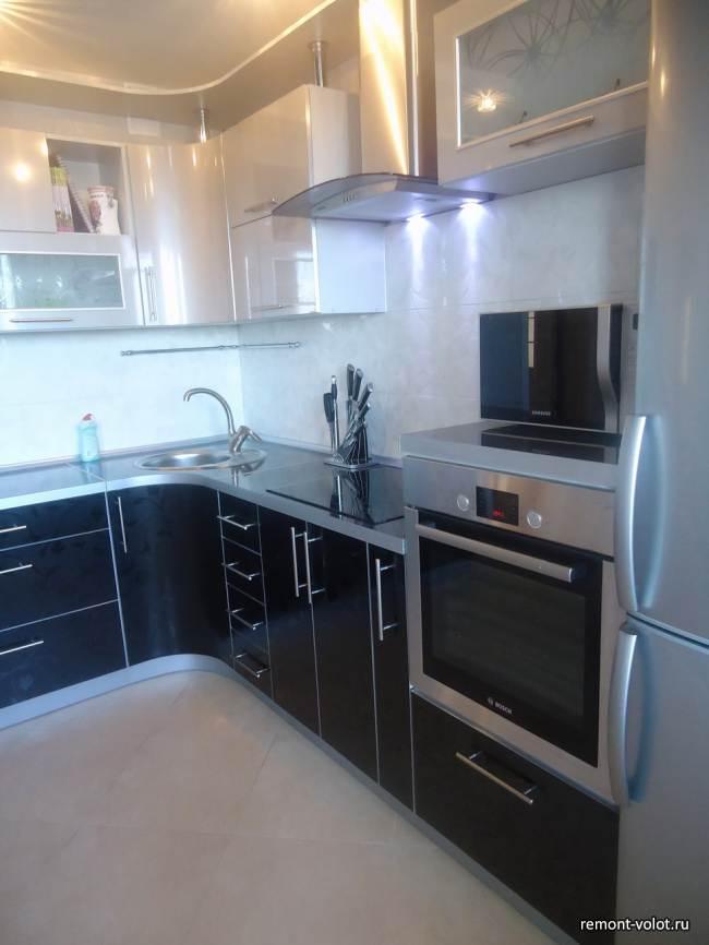 Черная глянцевая кухня ЗОВ за 2400$ (16 фото)