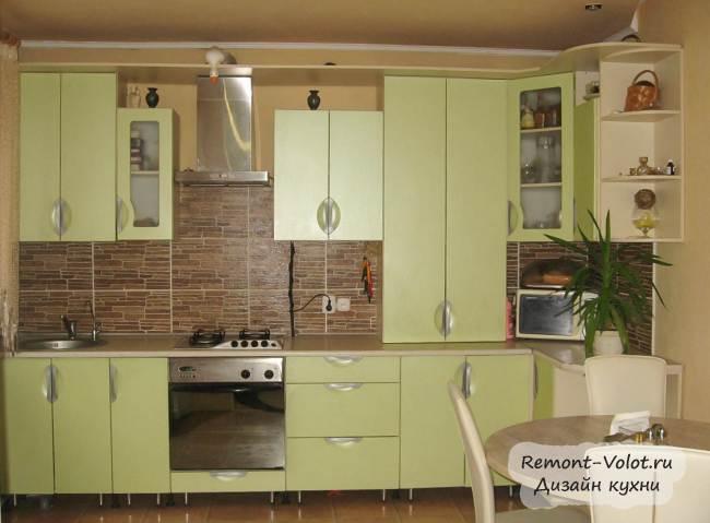 Дизайн кухни цвета «зеленый лен» за 2200$  в частном доме (19 фото)