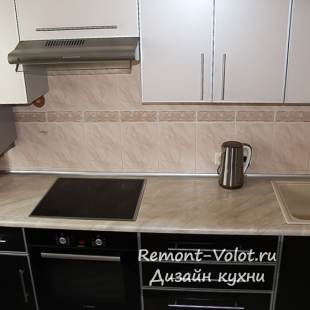 Бежевая с черным кухня 7,5 кв.м 1250$ (20 фото)