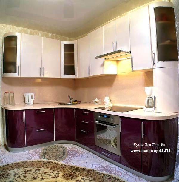 Фиолетово-бежевая глянцевая кухня в Москве (6 фото)