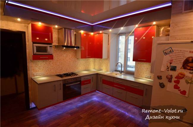 Оранжевая кухня с красивой подсветкой своими руками