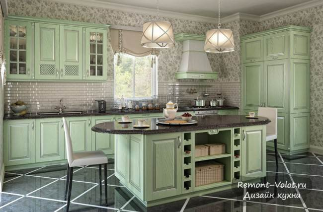 Дизайн и ремонт зеленой кухни 9 кв.м с фасадами из массива