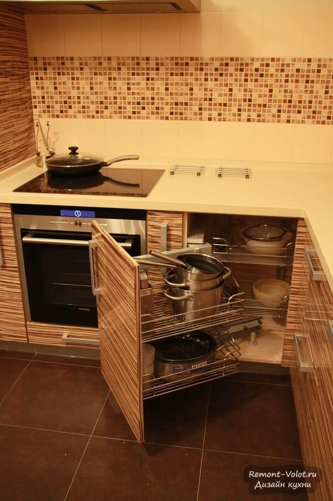 Кухни шпон со встроенной техникой