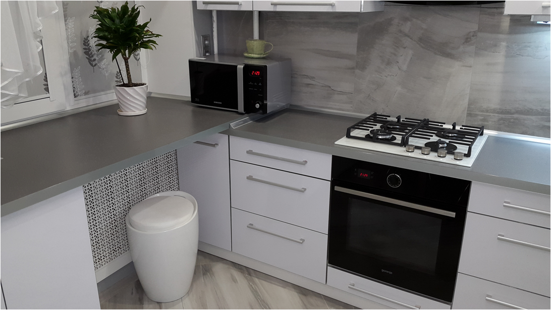 кухня серая с белым фото
