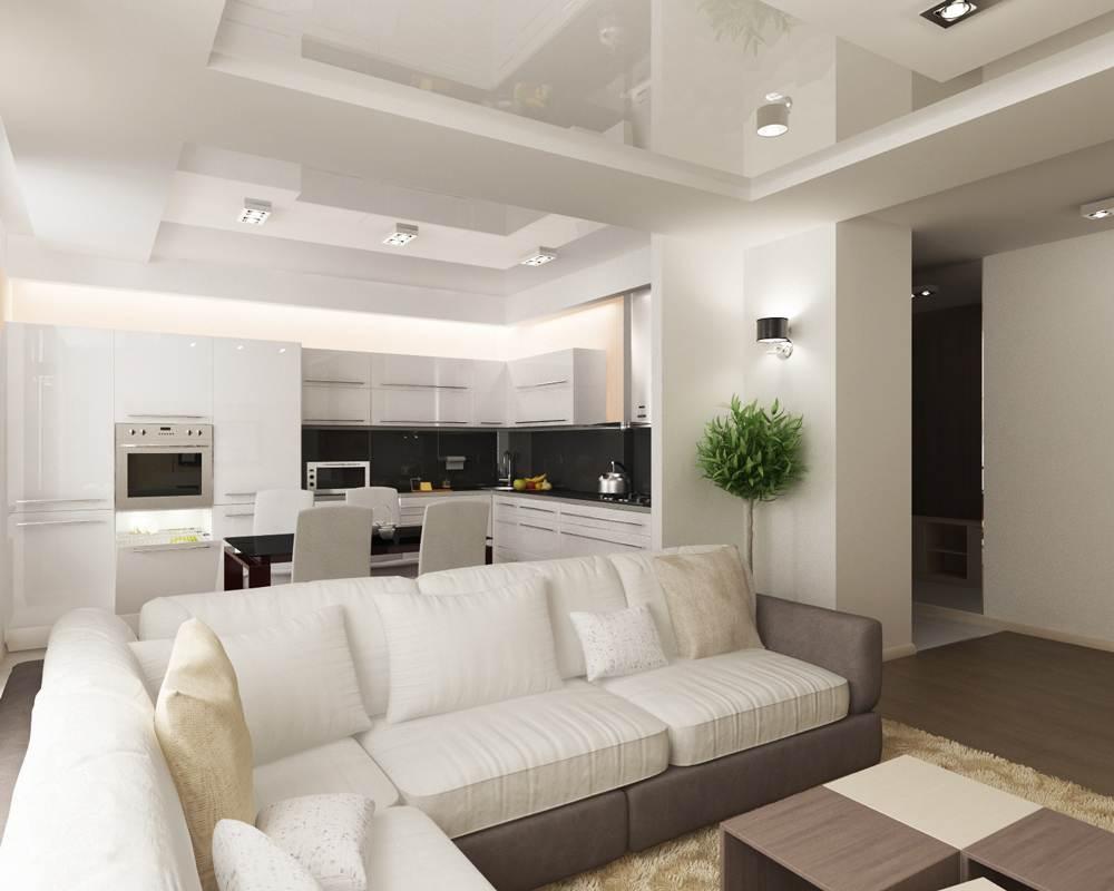 Дизайн натяжных потолков с гипсокартоном в зале фото
