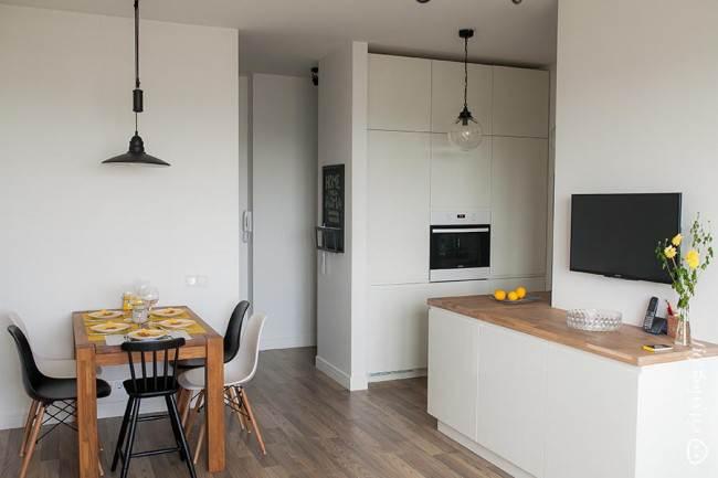 Дизайн кухни-гостиной в скандинавском стиле в однокомнатной квартире 45 кв.м.