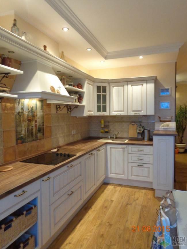 Потолок из гипсокартона над кухней