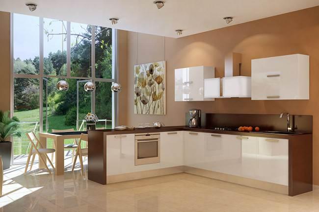 Угловая кухня Zetta молочного цвета с подсветкой и барной стойкой