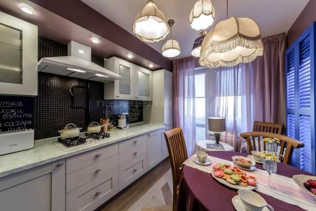 Люстры с абажурами на кухне