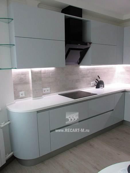 Белая угловая кухня из МДФ