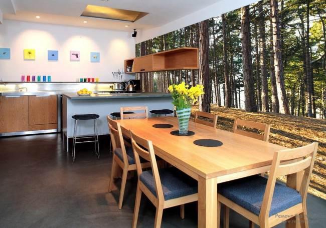 Фотообои в интерьере кухни в 2017 году