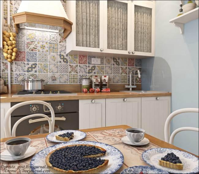 Прямая кухня в стиле прованс с метлахским фартуком