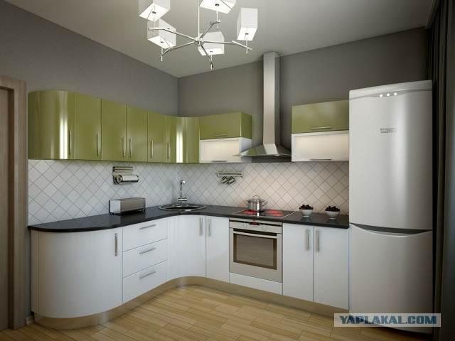 Бело-зеленая кухня с гнутыми фасадами. Сборка своими руками (24 фото)