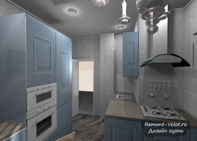 Дизайн серо-голубой кухни
