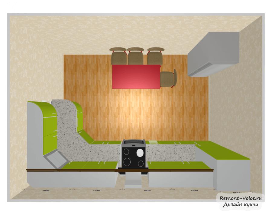 Дизайн кухни 7 кв м с холодильником