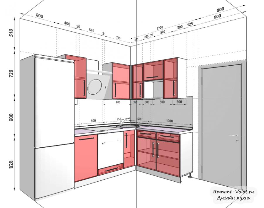 Дизайн проект кухни 6 кв.м фото с холодильником