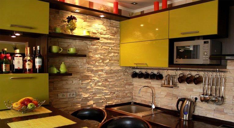 кухне отделка камнем фото на