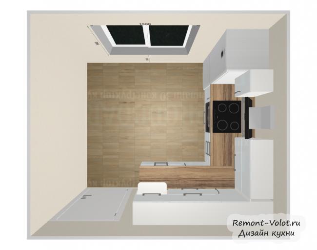 Дизайн-проект белой кухни 8,4 кв м с холодильником. Фартук и столешница под дерево