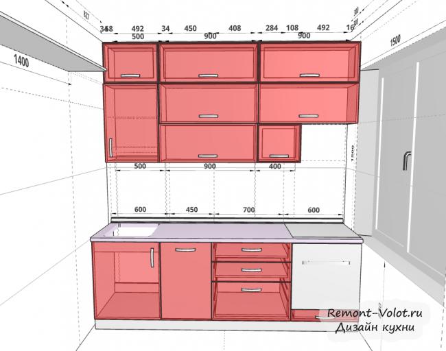 Дизайн-проект кухни 8,4 кв м с желто-зелеными фасадами