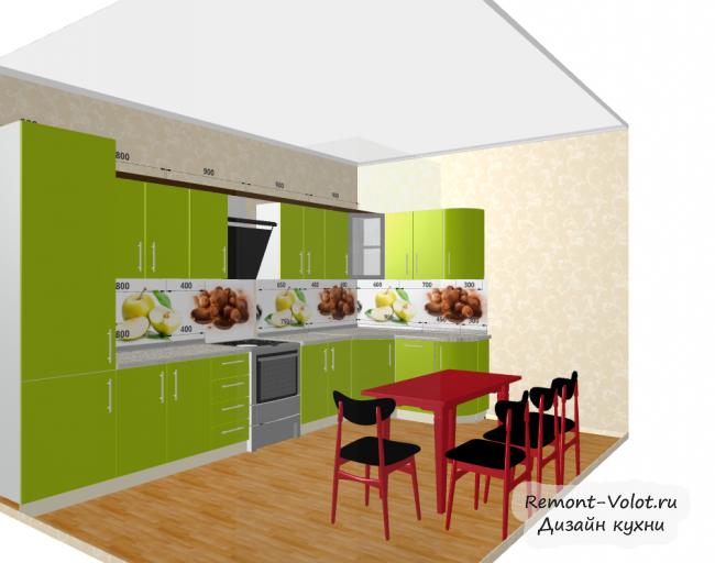 Проект зеленой кухни 12,2 кв м с холодильником. Скинали с фруктами