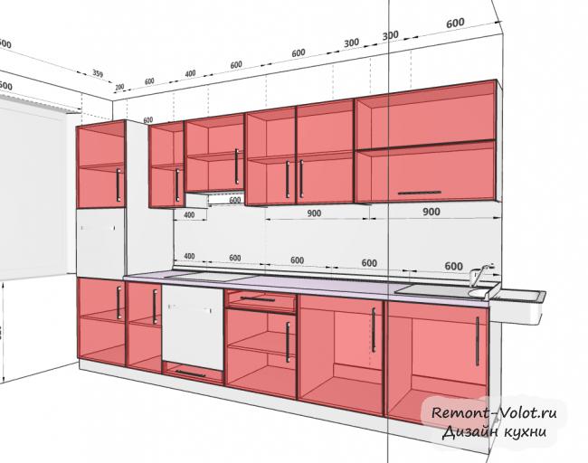 Проект кухни 8,3 кв м. Фасады зеленые и под дерево