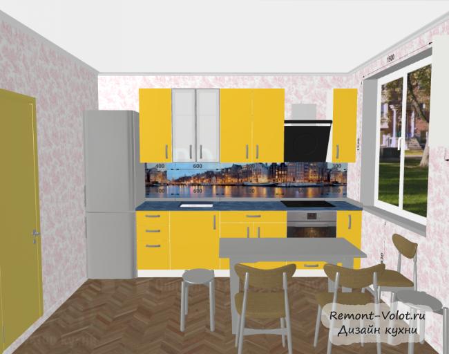 Дизайн желтой кухни 8,3 кв м с холодильником. Скинали с ночным городом