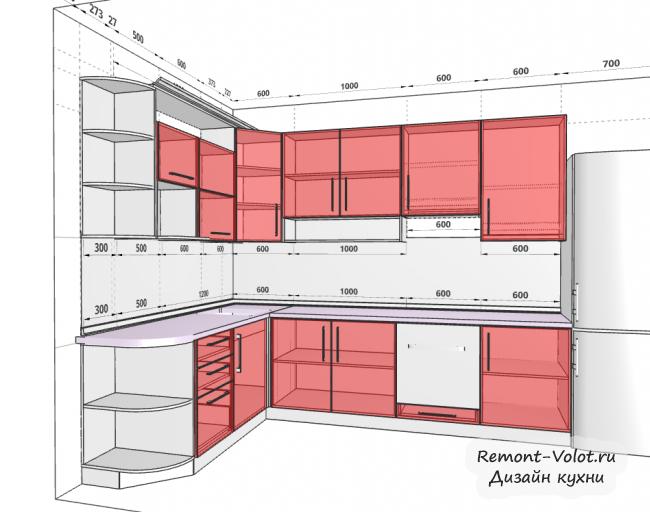 Дизайн-проект красно-белой кухни 7,7 кв м с холодильником