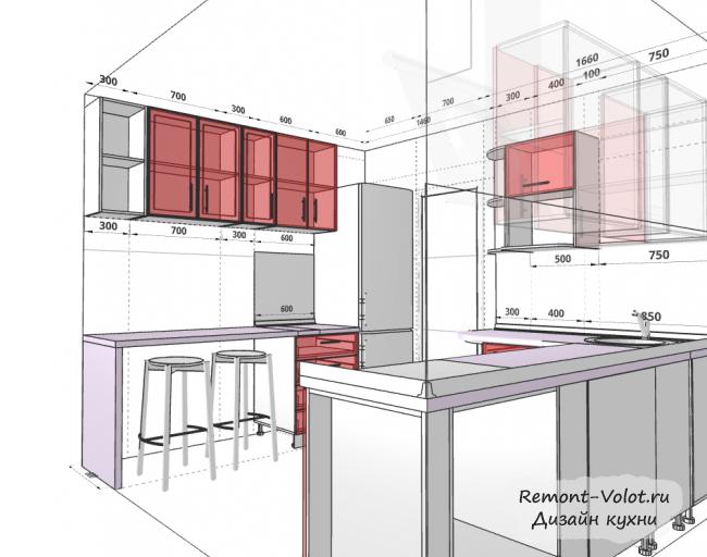 Дизайн кухни размеры