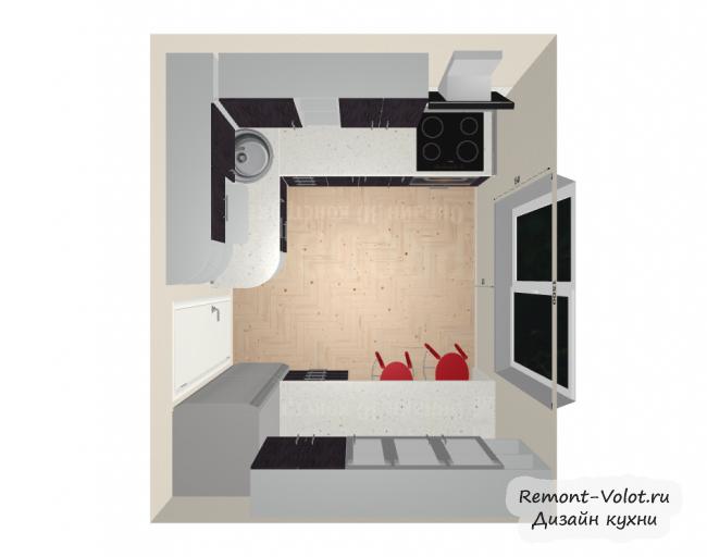 Проект фиолетовой кухни 7,5 кв м с холодильником. Обеденная зона в виде барной стойки