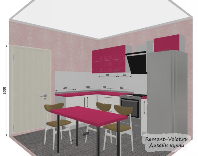 Проект розовой кухни 7,5 кв м с холодильником и обеденной зоной