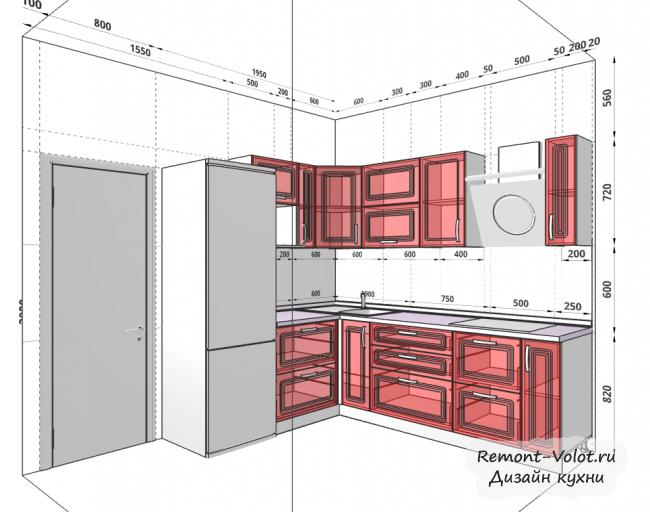 Дизайн-проект белой кухни 7 кв м с холодильником. Стиль классика
