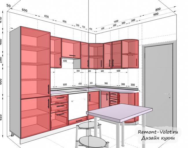 Проект кухни 6,2 кв м со встроенным холодильником и обеденной зоной