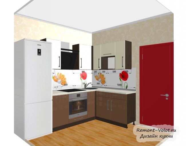 Дизайн-проект кухни 6 кв м с холодильником. Цвет бежевый с венге