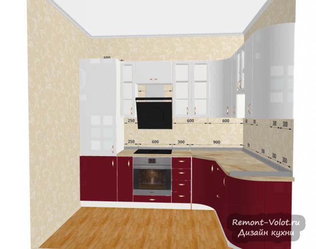 Проект красно-белой кухни 6 кв м с холодильником